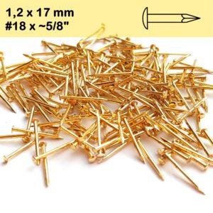 Vermessingt Rundkopfstifte Dekonägel Nagel Drahtstifte gold 17mm