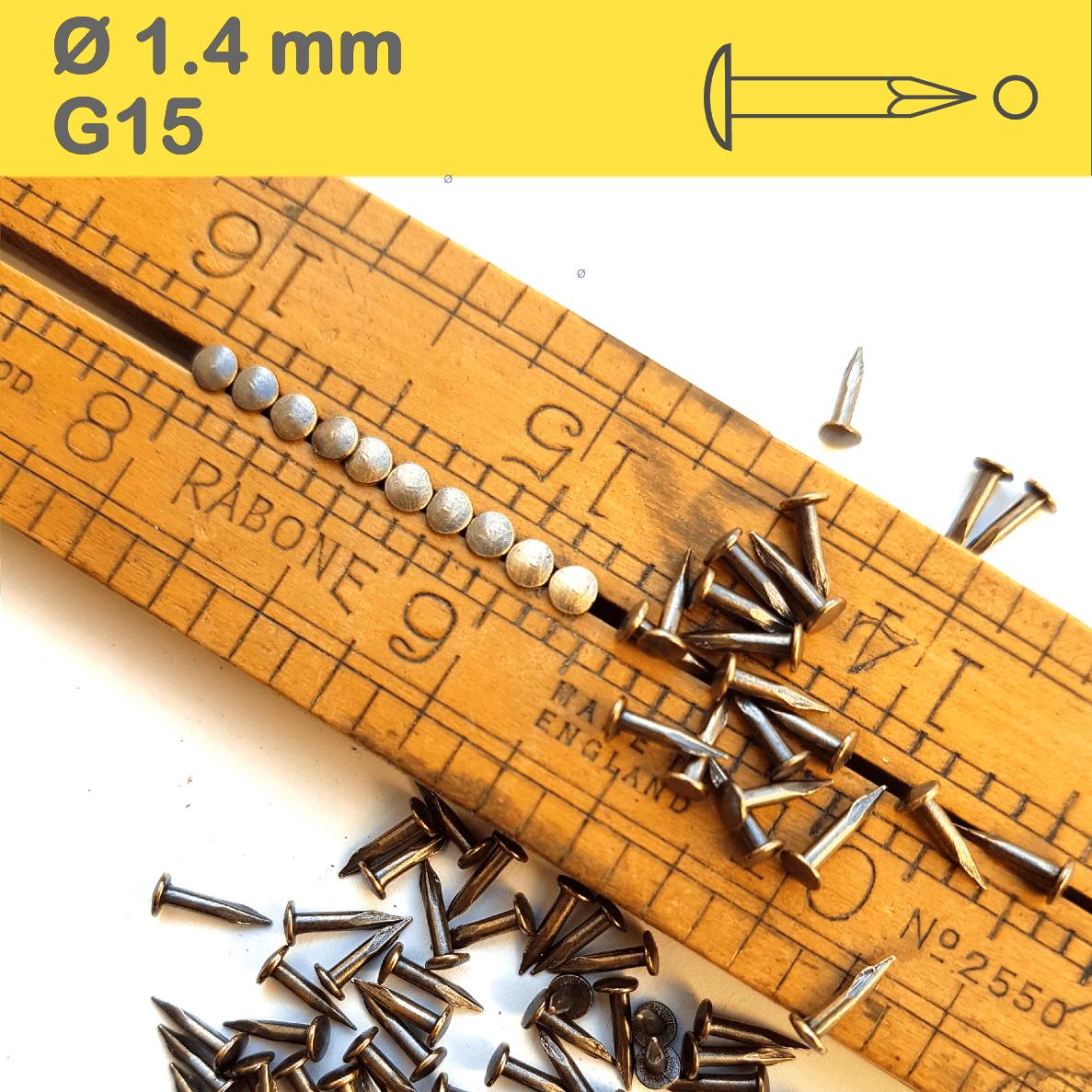 Brass Patina Antique Vintage NailsMessing Patiniert Antiquität Drahtstifte Dekonägel, Rundkopfstifte 1,4x8-13mm